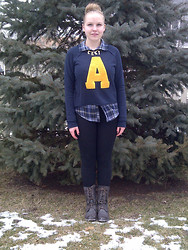 Alexandra Senycia - Akira Boots, Flannel Shirt, Forever 21 Varsity Sweatshirt, Topshop Charm Necklace - -->Atypical<--