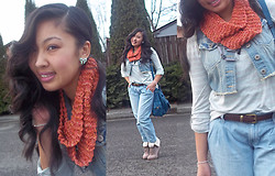 Paulina V - Forever 21 Mint Bow Earrings, Highway Jeans Denim Vest, Forever 21 Striped Button Sleeve Top, Old Navy Cropped Jeans, Aldo Cuffed Lace Up Booties, Ross Teal Crossbody Bag - Hint of Mint