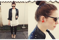 Lydia Lucia ♥ - Six Earrings, H&M Sunglasses, C&A Leatherjacket, Romwe Dress, Zara Shoes, Accessorize Necklace - Favourite summer dress