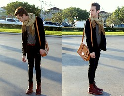 Michael Sedgwick - Hand Me Down Silk Scarf, Gap Black Jacket, Thrifted Striped Shirt, Topman Red Belt, Red Boots - Red Accents.