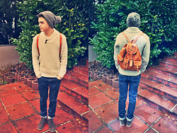 Ammar M. - Globus Zh Grey Hat, Zara Sweater, Cuba Leather Bag - Don't you worry child