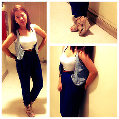 MIMI MAGNAIT - Michael Klein High Waisted Blue Pants, Charles&Keith Studed Grey Shoes, Forever 21 Basic Sando, Somewhere Denim Vest - 126: Majin Bu inspired look