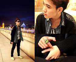 "Dany Nguyễn - Cheap Monday Sunglasses, Topman Vintage Studded Shirt, Asos Studded Cardigan, Boy London Green Neon Sneakers, Acrylic Peace Sign Ring - ""Are We Having Fun Yet?!"""