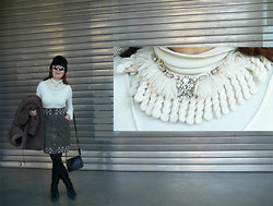 "Olga Rink - Vintage Fur Hat, Swarovski Necklace Of Wool With, Upnext, Italy Sunglasses, Made In Italy Top, Kenzo Skirt, Made In Italy Boots, H&M Leather Bag, Made In Lithuania Fur Coat - My necklace ""The star of snow"" in the Christmas holidays"