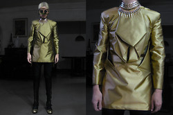 Andre Judd - H. Custodio Couture Gold Top, Gold Mask, Versace Vintage 90s Frames, Protacio Trousers - GOLDEN GEOMETRY