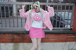 †Norelle Rheingold† - Diy Donut Sweater, Vintage Pink Faux Fur Coat, Thrift Pink Skirt - Go to Donut Hell
