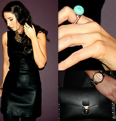 Nuala G - Boutique Ring, Zara Leather Dress, Topshop Statement Necklace, Michael Kors Watch, Urban Outfitters Bag - Little Leather Dress