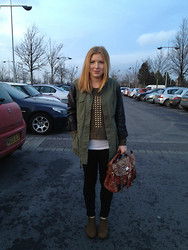 Claire H - River Island Vintage Look Satchel, George At Asda Studded Cross Jumper, Topshop Leopard Print Boots - A Very Khaki Saturday
