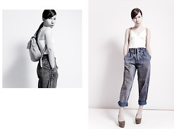 Tatiana K - Unknown Bodysuit, Vintage Jeans, Longchamp Backpack, H&M Wedges - Mixing the palette