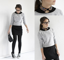 Olympia C - Urban Outfitters Black Glitter Collar Dress, H&M Grey Casual Sweater - Glitter Collar