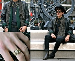 "Matthias C. - Surface To Air Hat, Sailor & Irma Wolf Ring, Givenchy Pants, Maison Martin Margiela Multi Chain Necklace, Sailor & Irma Ovale Pendant, Ray Ban Sunglasses, Cos Bga, All The Rest Is Vintage - ""Achille"""
