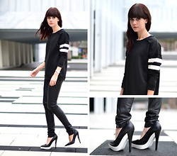 Lucy De B. - Leather Trousers, Killer Heels - White lines