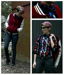 Gwendolyn R. Chandler - Walmart Nerd Glasses, Garage College Jersey Jacket, Forever 21 Charcoal Skinny Jeans With Zippers, Black Combat Boots, Unique Thrift Store Boys Button Up Shirt, Josh Bach Bow Tie With Constellations - Teachers Pet