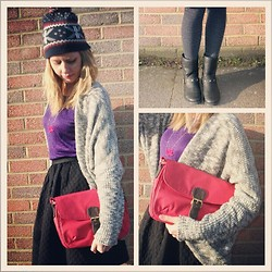 Hayley (FashionAndMe) - Boden Satchel Bag, Monki Wolley Hat, Dorothy Perkins Cardigan, H&M Fun Skirt, River Island Studded Boots - Winter Sunshine