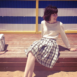 Sushi Girl - Modcloth Pointelle A Tale Sweater, Asos Wool Check Skirt, Basic Long Sleeve Top - Brighton Beach
