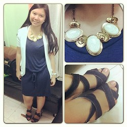 Louie Belle Regente - Forever 21 Dress, Tip Cop Statement Necklace, Heatwave Denim Heels - SUNDAY FASHION on Instagram