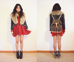 Jasmine S - H&M Faux Fur Stole, Nasty Gal Cropped Moto Jacket, Diy Dress, Louis Vuitton Backpack, Jeffrey Campbell Spike Lita - Lost