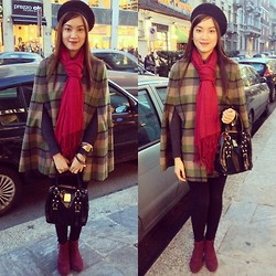 Yuki Banez - United Colors Of Benetton Poncho, Promod Booties, Blumarine Purse, Vintage Beret - I love Blair Waldorf