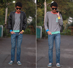 Alan John Rañada - Sunglasses, Bangkok Leather Jacket, H&M Striped Sweater, Jeans, Vans Trainers - Favorites