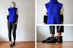 Sietske L - Choies Turtle Neck, Romwe Shoes, H&M Leather Trousers - Eclectic graphic