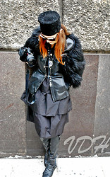 Olga Rink - Made Myself Hat, Vintage Leather Jacket, Vintage Dress, Made In Italy Necklace, Made In Italy Boots, Upnext (Italy) Sunglasses - Passion and feelings.