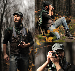 Boreas Ʊ - B&B Industries Denim & Leather Vest, Camouflage Scarf, Turquaz Guerilla Cap, Topshop Black Pullover, Army Boots, Vintage Military Bag - The Earth is art, the photographer is only a witness.