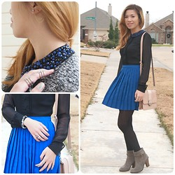 C. Le - Material Girl Dress, Bakers Booties, Cotton On Purse, Newyork Comp. Stocking - Shades of Blue