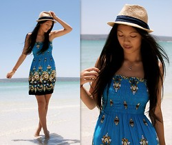 Rhea Hsu - Woolworths Hat, Danshui Market, Taiwan Dress, Tiffany & Co. Heart Necklace - Life's A Beach