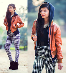 Ekta Sheoran - Nike Hoodie, Faux Leather Jacket, Beaded Necklace, Forever 21 Waist Belt, Houndstooth Leggings, Steve Madden Lace Up Wedges - Houndstooth : Love it or Loathe it!