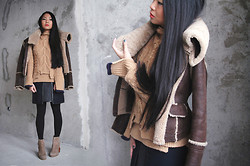 Uliana Kim - Burberry Sheepskin Coat, Céline Knit, Balenciaga Skirt, Jeffrey Campbell Boots - Winter chic