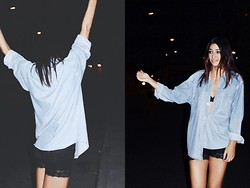 Anne G. - Thrift Store Denim Shirt, H&M Cycle Shorts - Kill The Lights