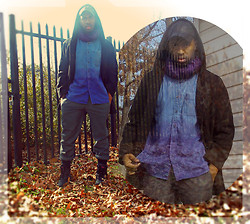 Michael Logan - H&M Gray Slacks, D.I.Y. Dip Dyed Denim Shirt, Urban Outfitters Black Leather Duck Boots, Black Leather Cap, Black Hooded Peacoat, I Got It From My Momma Lol Purple Scarf - \\\WINTER HIATUS/////////////// /////  /// \ \ /