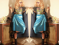 Alexandra Raymond - Urban Outfiter, Made By Me, Dany, Celtic Cape (Buy In Cork) - Satin old Hollywood