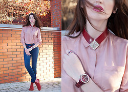 Tanya Petrova - Fossil Woman Watches, Kenzo Necklace, Asos Boots, H&M Jeans - ▓ Burgundy in casual look