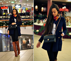 Intrigue U - Zara Coat, Zara Boots, Chanel Bag, Scarf, Bershka Jeans - Borrowed