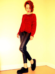 Holly Marie Halliwell - New Look Fabric/Leather Mix Leggings, New Look Woolen Jumper, Johnathen James Creepers - Rise up like the sun and labour till the work is done.