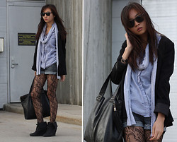 Sabrina Kwan - Wedge Booties, Floral Fishnet Stockings, Boyfriend Blazer, Chambray Blouse, Jersey Scarf - Cold monochrome