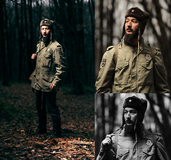 Boreas Ʊ - B&B Industries M 65 Field Jacket, B&B Industries Ushanka Winter Hat (шaпкa ушанка), Army Patch, Military Winter Boots, Red Star Pin, Toujours Pret Military Patch - M-65 Field Jacket & Ushanka Hat