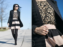 Melanie Y - Bcbg Boyfriend Blazer, Bcbg Skirt, Target Floral Lace Top, Pandora Moonlit Serenade Ring Set, Ann Taylor Black Pumps, Chloé Black Sunnies - Floral Lace & Bold Stripes
