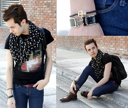 Michael Sedgwick - Cat Print Scarf, H&M London Tee, Topman Red Belt, Hermës Cuff, Vintage Leather Bagpack - Cat Lover.