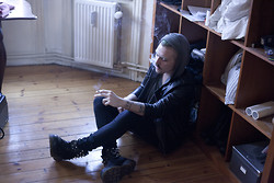 Nicklas Due - Secondhand Leather Jacket, Asos Grey Hoodie, Dr. Martens Diy Spiked - 36