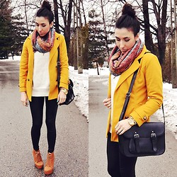 Pam S - H&M Leggings, Coat - Yellow coat