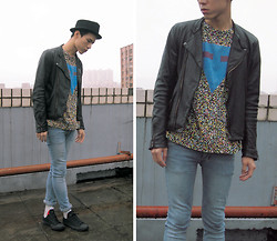 Alex FuFu - New York Hat, Leather Jacket, Horace T Shirt - A Rooftop Criminal