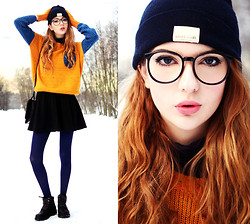 Ebba Zingmark - Sweater, Zerouv Glasses, Leggings, Choies Skirt, Boots, Hat, Bag, Knitted By My Granny:) Gloves - This one is different