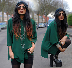 Kavita D - Thrifted Bottle Green Vintage Shirt, Vintage Silver Layer Necklace, Zerouv Small Brown Sunglasses, Ebay Lace Cycling Shorts, Daisystreet Buckle Platform Boots - Bottle Green