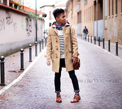 Jerome Centeno - Zara Paisley, Cortty Camel Duffle Coat, Zara Striped Sweater, Zara Leather Briefcase, H&M Aztec Print, Zara Leather Shoes - MIX OF PATTERNS