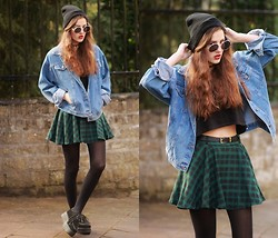 E V - Chic Wish Green Plaid Skirt, Thrifted Denim Jacket, Creepers - NO MERCY