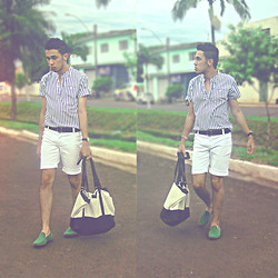 Lucas Calisto - Mzero Mocassim, Pool Big Bag, Richuelo Stripes Blue And White - Rain with sunshine