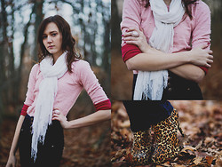 Madison Arrebella - Forever 21 Beaded Sweater, Forever 21 White Scarf, Longsleeve Tshirt, Forever 21 Statement Ring, Forever 21 Leopard Booties - In Pink