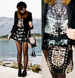 Kazia Jaszkiewicz - Romwe Studded Bag, Romwe Leopard Skirt, Romwe Dotted Tights, Romwe Sunglasses - We were so Childish!